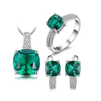 Emerald Ring Pendant Hoop Earrings Wedding Set Women's Jewelry Women's Sets